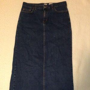 ankle length denim skirt